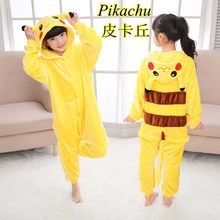 Flannel Cartoon Animal One-piece Pajamas Pikachu Winter Boy Girl Student Costumes Parent- Child Yellow Clothes(China)