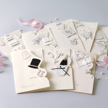 Beautiful Wedding Card to Bride and Groom,8 Designs Creative Gift Wedding Wishes Card(China)