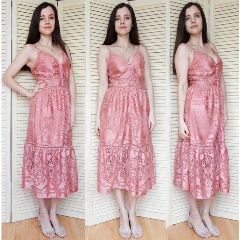 فستان للسيدان صيف 2018 مفتوح الاكتاف عالي الجودة باللونين الزهري والابيض 10