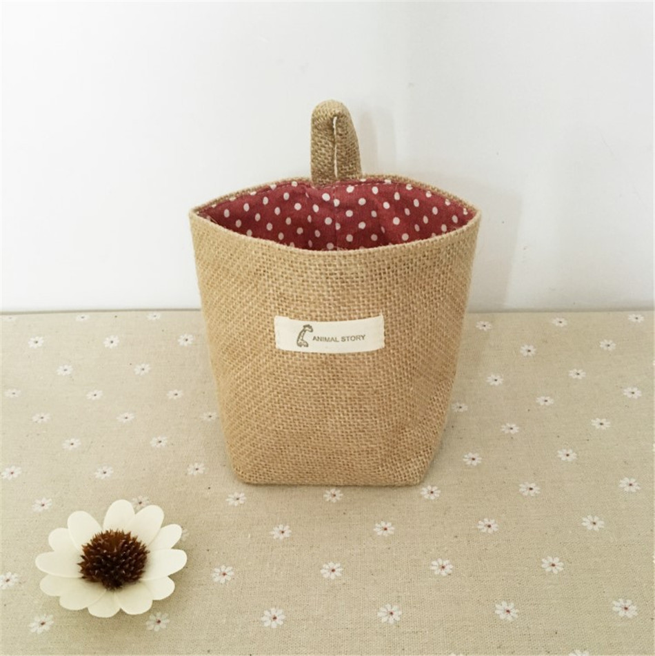 Linen Woven Storage Basket Polka Dot Small Storage Sack Cloth Hanging Non Woven Storage Basket Buckets Bags Kids Toy Box (12)