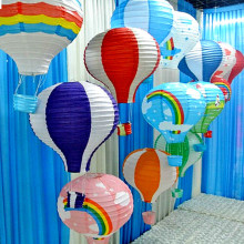 10Pcs/lot 12inch Rainbow Hot Air Balloon Hanging Paper Lantern Fire Sky Lantern For Wedding/Birthday Party/Christmas Decoration(China)