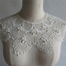white pearl Embroidered Lace Collar Neckline Venise Applique Embroidery Sewing on Patches Sewing Fabric Accessories YL115