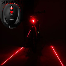 snowshine2#3001  Cycling Bike Bicycle 2 Laser Projector Red Lamps Beam and 3 LED Rear Tail Lights  free shipping wholesale