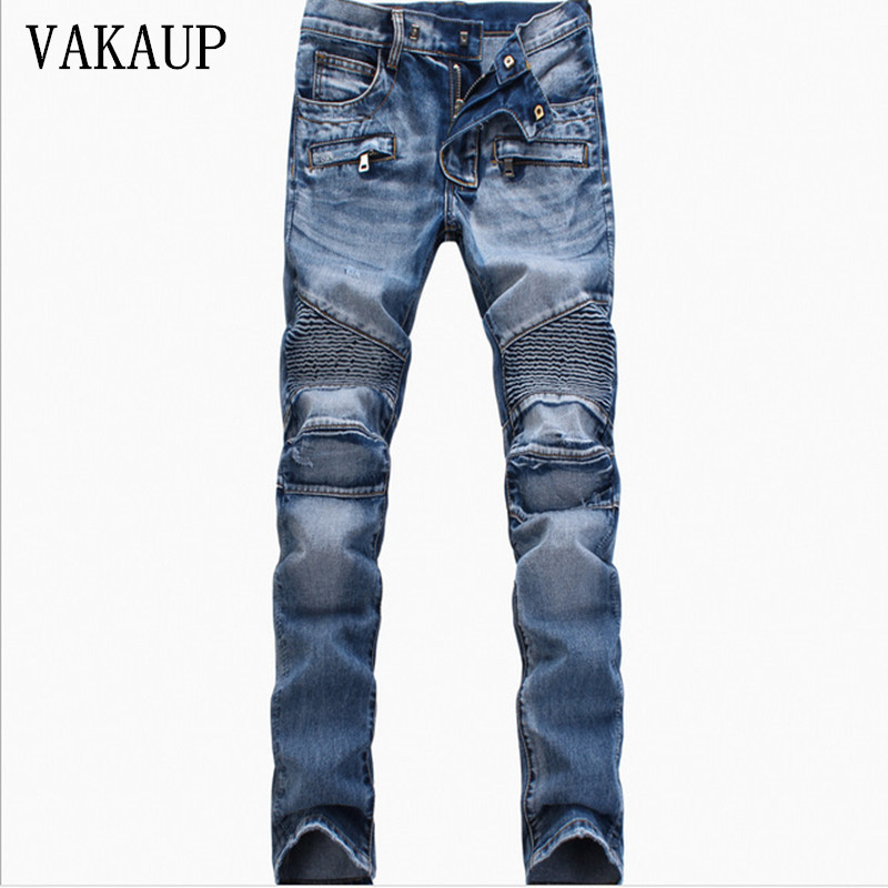 Mens balmai jeans Men Designer Biker Jeans Pants Distressed Motorcycle Denim Joggers Slim Fit Ripped Jean Trousers Pant For ManОдежда и ак�е��уары<br><br><br>Aliexpress