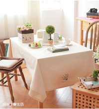 HBZ34 tablecloth table cover cloth linen natural vintage fabric rectangle squre beige Canvas plaid countryside red green