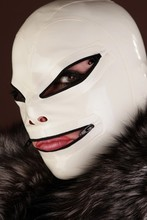 Buy 100% natural latex mask rubber hood fetish cosplay Mask zipper