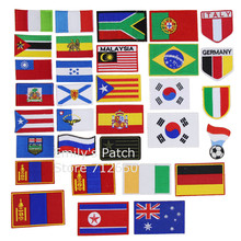 New arrival 10 pcs flags Malaysia Austrilia Korea Italy Embroidered patches iron on cartoon Motif Applique embroidery accessory