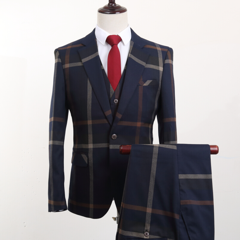 Jacket+Pants+Vest Brand Fashion Men's Suits Blazers Stripe Slim Fit Groom Wedding Prom Blue Suit Male Tuxedos Business Formal