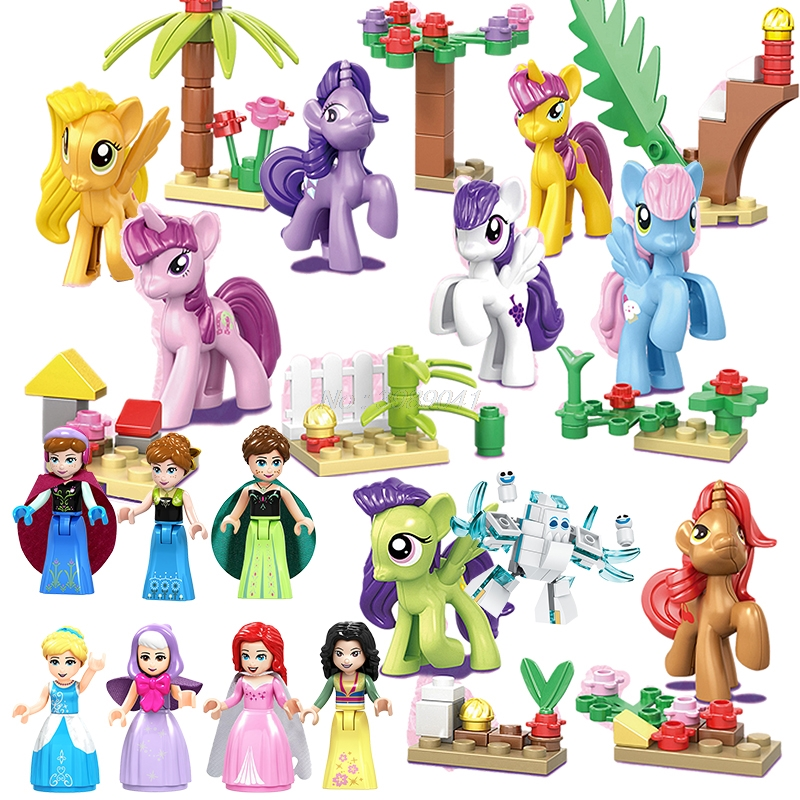 Mailackers Friends For Girls Princess Figures Unicorn Snow Queen Hua Mulan Elves Animals Toys Building Block Christmas Gift Kits