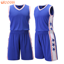 Mens Throwback Basketball Jerseys Sleeveless Male Pure Color Sports Training Shirt + Shorts Set Sportwear Basketball Clothing(China)