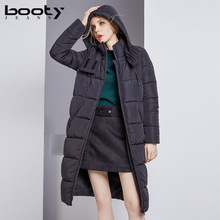 Bootyjeans brand 2017 Women Winter Super Warm X-long Cotton Quilted Jacket Keep Warm Thickening Coat Hooded Outerwear Female(China)