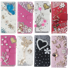Smartphone case NEW Arrival Rhinestone Bling Diamond Flip Leather Wallet Stand Phone Cover For Samsung Galaxy S3 4 5 6 S8 Plus(China)