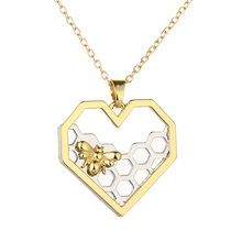 Chic Silver Gold Bee On The Honeycomb Necklaces & Pendants Hexagon Comb Hive Necklace For Women Jewelry You are My honey 2016(China)