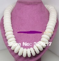 "002630 8mm*20mm natural white coral necklace 17.5"" fashion jewelry"