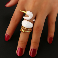 Hot 3pcs/Lot DIY Gold Color Punk Style Animal Swan Rings For Women Fashion(China)