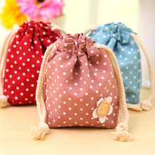 Vintage Red Rose Cotton cute dot Storage Bag for Sundries / Retro Draw Cord Linen Small Bags for Girls as Gifts