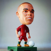 Soccerwe 2016 France EU Soccer Doll 6.5*3.5 cm Resin Action Portugal No. 3 Pepe Figure Mini Gift  Red