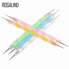 ROSALIND 5 pcs /set  2 way Dotting Pen Nail Art Dot Set Nail Tool Nail Art Pen Set For UV Gel Nail Polish Marbleizing Painting