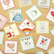 6 card + 6 envelope /lot cartoon mini greeting card thank you card birthday christmas card envelope writing paper stationery
