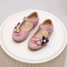 Spring new kids shoes girls shoes  soft sole leather shoes kids flower girls dress shoes children