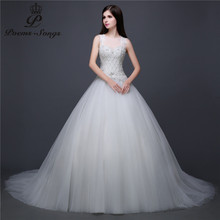 Poemssongs Real photo silky organza and Satin O neck sleeveless Wedding Dress vestidos de noiva robe de mariage bridal dress(China)