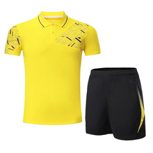 2017 Quick Dry Top Quality Men Running Set Sportswear Suit Badminton Table Tennis Shirt Clothes Sport POLO T Shirts+Shorts Set(China)