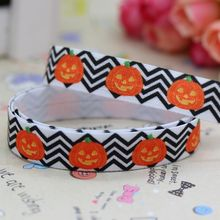 5/8'' Free shipping Fold Over Elastic FOE halloween printed headband hair band diy decoration wholesale OEM B424