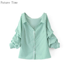 Future Time Cotton Stripe Long Sleeve Blouse Deep-V-neck Loose Shirt Office Wear Female Puff Sleeve Blouse Casual Blusas SC232(China)