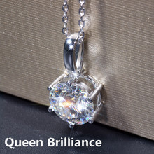 Queen Brilliance 5ctw F Color Lab Grown Moissanite Diamond Pendant Necklace Genuine 14K 585 White Gold For Women Jewelry Choker