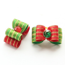 Armi store Handmade Dogs Christmas Bow Striped Ribbon Dog Bows 6025004 Pet FesTival Headdress Supplies Wholesale