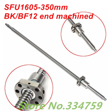 SFU1605 350mm Ball Screw Set  : 1 pc ball screw RM1605 350mm+1pc SFU1605 ball nut cnc part standard end machined for BK/BF12