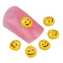 10Pcs/Lot Manicure Nails Tools Cute Smile Face Shape 3D Nail Stickers Charm Nail Jewery Cheap Women Nail Gel AccessoriesMA0317