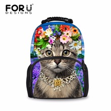 FORUDESIGNS Casual Children School Backpacks Cute Animal Cat Printing Backpack for Women Kids's Large School Mochila Bagpacks(China)