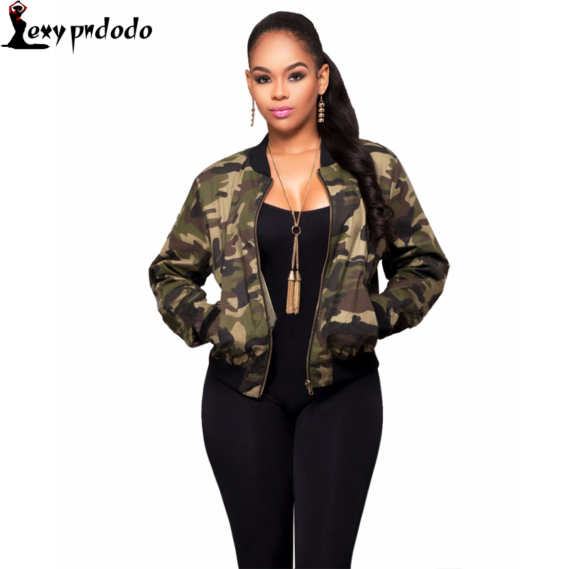 Camouflage Top Women Slim Casual Coat Zip Outerwear Army Short Bomber Jacket New Fashion Trendy baseball jacket jaqueta feminina
