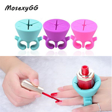 2017 New Arrival Manicure 1pc Pro Flexible Silicone Finger Ring Varnish Wearable Nail Polish Holder Art Tips Display Stand Tool(China)