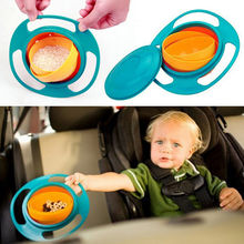 Hot ABS Plastic Healthy Baby Kids Non Spill Feeding Toddler Gyro Saucer Bowl Practical 360 Rotating Design Avoid Food Spilling(China)
