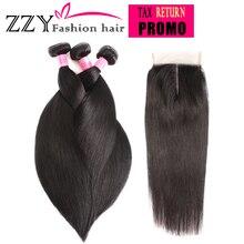 ZZY Fashion Hair Straight Hair Bundles with Closure  Peruvian Hair 3pcs Non Remy Human Hair Bundles With Closure(China)