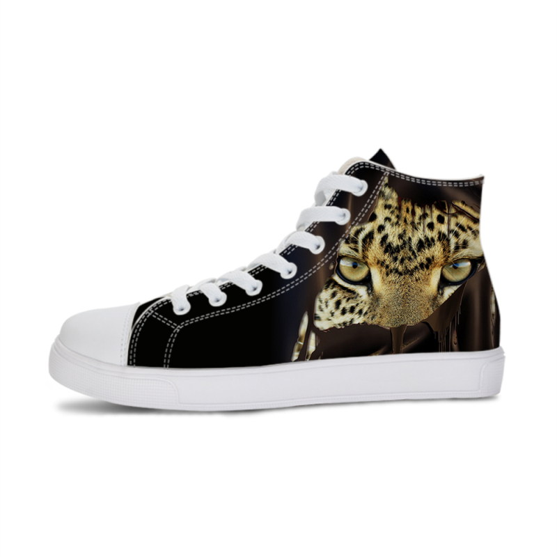 Tiger Print Sneaker Vulcanized Shoes Men Canvas Shoes High-top Flat Lace-up Male/Women Unisex Light Trainers Breathable Sneakers