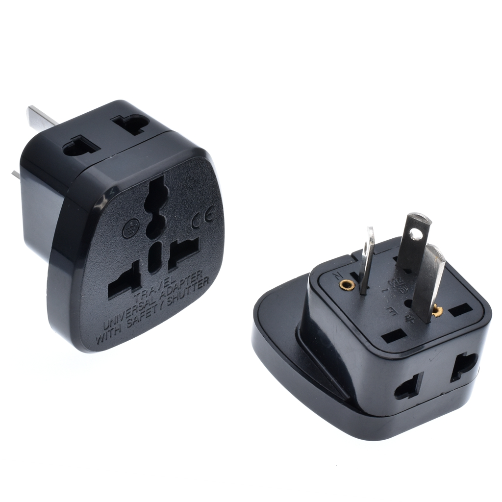 Black/white 10A 250V Australian travel adaptor outlet AU/UK/US to AU one-turn-two plug socket power converter with security door