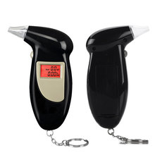Brand new ABS material keychain breathalyzer digital alcohol tester with red backlight +10pcs mouthpieces