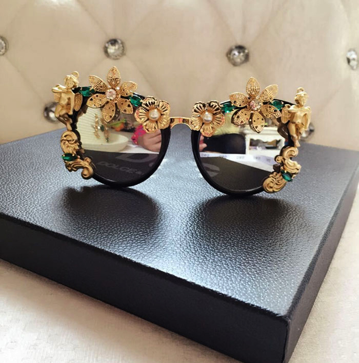 New big circle round frame Brand Designer sunglasses personality angel pearl flower female fashion sunglasses women sunglasses<br><br>Aliexpress