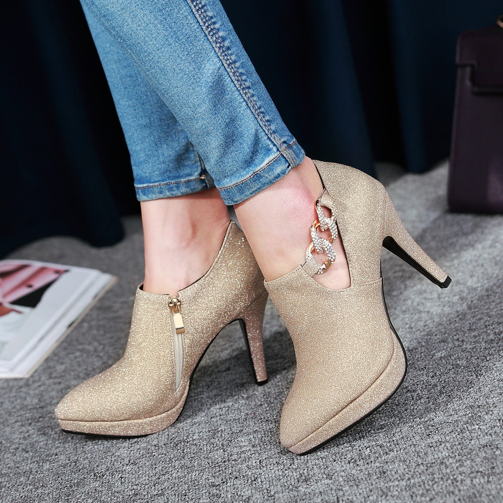 2018 Ladies High Heel Shoes Woman Pumps spring winter martin boots pointed toe chain shoes sexy Super Star retro women shoes