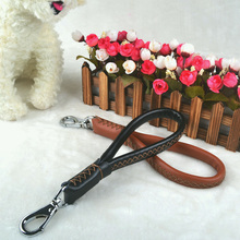 Top quailty Leather Pet traction rope step to take a short leash your golden retriever Caucasus large breed Big dog chain
