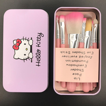 Hot Pro Brochas Hello Kitty Maquillaje Makeup Brushes 7PCS Set Kit Iron Professional Facial Brushes Metal Box Pink Cosmetic Gift(China)