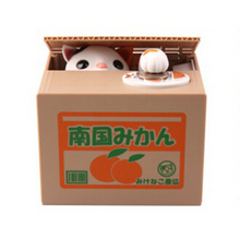 NEW Cute Automated Mechanical Piggy Bank saving money box  Orange style white cat action figure children toy kid gift