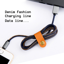 Superior quality Exquisite Denim Fashion perfect compatible ios android for iphone Sync Data Charger for micro USB and type-c