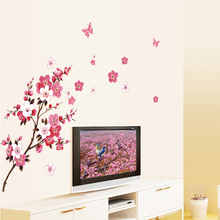 Free Shipping Peach Blossom Butterfly Removable Wall Vinyl Decal Art DIY Home Wall Sticker Hot stikers for wall decoration(China)