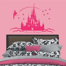 Fancy New Cartoon Theme Fairy Princess Castle Personalized Name Wall Decals Home Wall Stickers Girls Bedroom Vinyl Art Decor