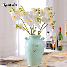 Kyunovia Wedding Decoration Silk Flower Butterfly Orchid Artificial Flower Phalaenopsis For Party Home Hotel Decor KY23(China)
