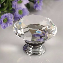 2016 New Diamond Clear Crystal Glass Door Pull Drawer Knob Handle Cabinet Furniture(China)